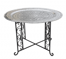 Moroccan  Vintage Aluminium Tray Or Table with Wrought Iron Legs Diameter 76 cm. 30'' (ALT12)